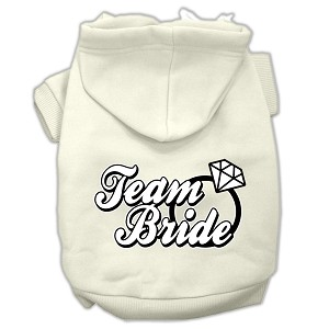 Team Bride Screen Print Pet Hoodies Cream Size Med (12)