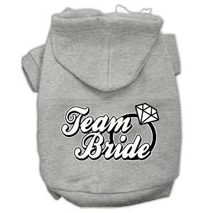 Team Bride Screen Print Pet Hoodies Grey Size Sm (10)
