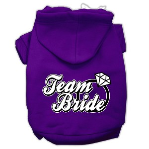 Team Bride Screen Print Pet Hoodies Purple Size Med (12)
