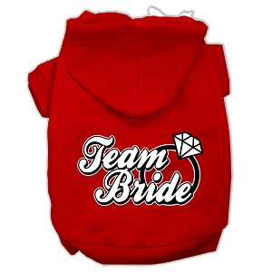 Team Bride Screen Print Pet Hoodies Red Size XXXL (20)