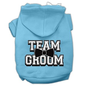 Team Groom Screen Print Pet Hoodies Baby Blue Size Sm (10)