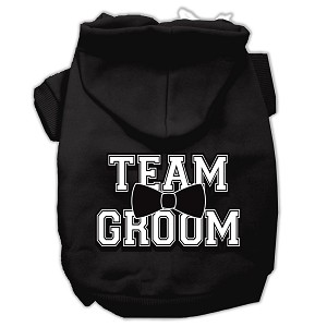 Team Groom Screen Print Pet Hoodies Black Size XXL (18)