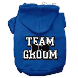 Team Groom Screen Print Pet Hoodies Blue Size Lg (14)