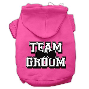 Team Groom Screen Print Pet Hoodies Bright Pink Size XXL (18)