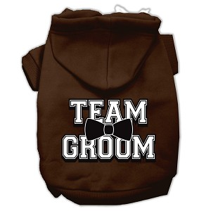 Team Groom Screen Print Pet Hoodies Brown Size Sm (10)