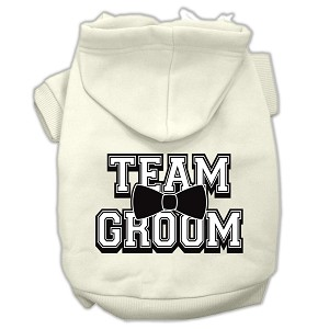 Team Groom Screen Print Pet Hoodies Cream Size XL (16)