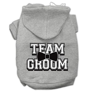 Team Groom Screen Print Pet Hoodies Grey Size XL (16)