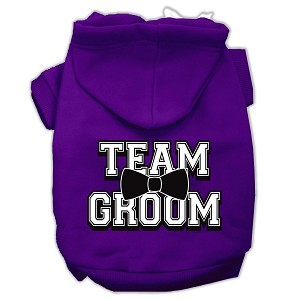 Team Groom Screen Print Pet Hoodies Purple Size XS (8)