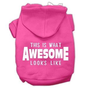 This is What Awesome Looks Like Dog Pet Hoodies Bright Pink Size Sm (10)