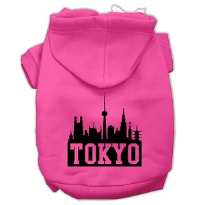 Tokyo Skyline Screen Print Pet Hoodies Bright Pink Size XXXL (20)