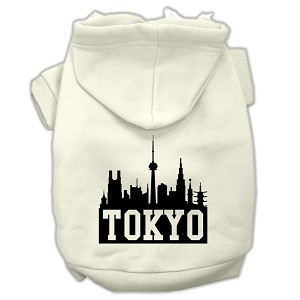 Tokyo Skyline Screen Print Pet Hoodies Cream Size XS (8)