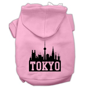 Tokyo Skyline Screen Print Pet Hoodies Light Pink Size XL (16)