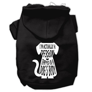 Trapped Screen Print Pet Hoodies Black Size Lg (14)