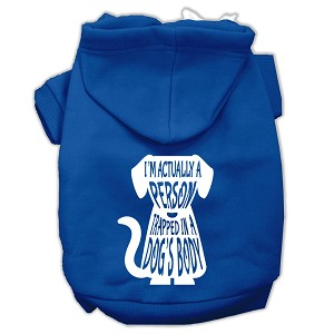Trapped Screen Print Pet Hoodies Blue Size Sm (10)