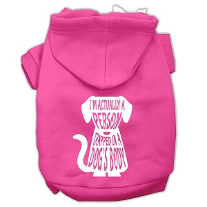 Trapped Screen Print Pet Hoodies Bright Pink Size XXL (18)