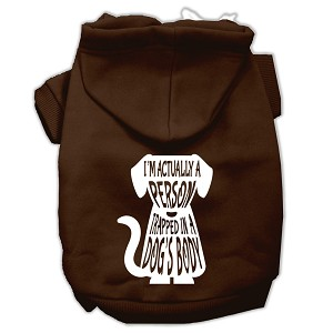 Trapped Screen Print Pet Hoodies Brown Size XS (8)