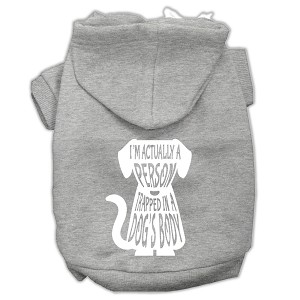 Trapped Screen Print Pet Hoodies Grey Size Lg (14)