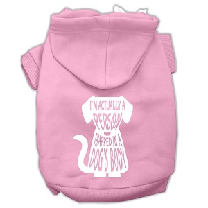 Trapped Screen Print Pet Hoodies Light Pink Size XL (16)