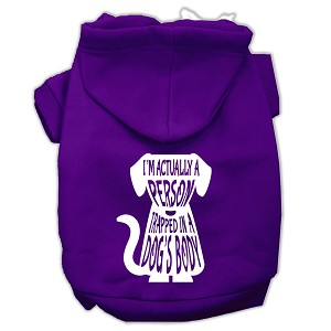 Trapped Screen Print Pet Hoodies Purple Size Lg (14)