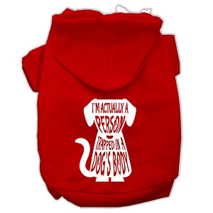 Trapped Screen Print Pet Hoodies Red Size Lg (14)