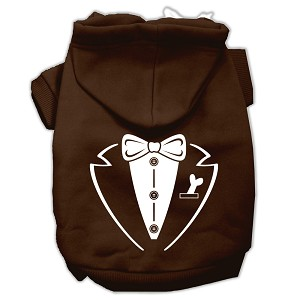 Tuxedo Screen Print Pet Hoodies Brown Size Lg (14)