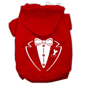 Tuxedo Screen Print Pet Hoodies Red Size Lg (14)