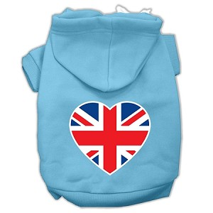 British Flag Heart Screen Print Pet Hoodies Baby Blue Size XXL (18)