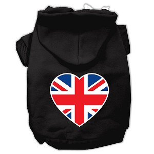 British Flag Heart Screen Print Pet Hoodies Black Size XL (16)