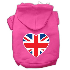 British Flag Heart Screen Print Pet Hoodies Bright Pink Size XL (16)