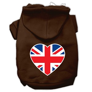 British Flag Heart Screen Print Pet Hoodies Brown Size XS (8)