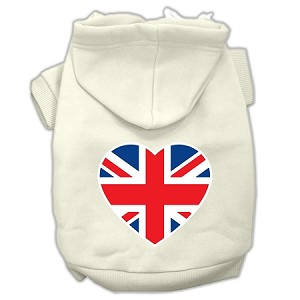 British Flag Heart Screen Print Pet Hoodies Cream Size Sm (10)