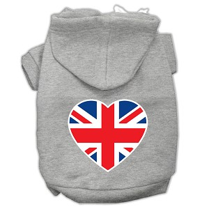 British Flag Heart Screen Print Pet Hoodies Grey Size XL (16)