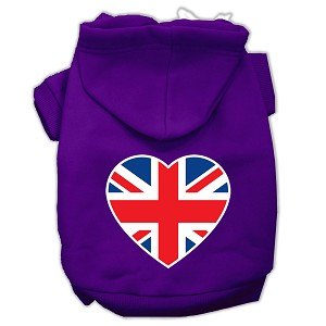 British Flag Heart Screen Print Pet Hoodies Purple Size XXL (18)