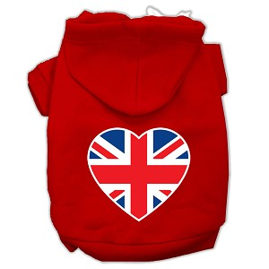 British Flag Heart Screen Print Pet Hoodies Red Size XS (8)