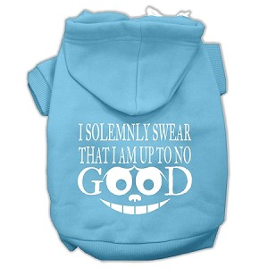 Up to No Good Screen Print Pet Hoodies Baby Blue Size Sm (10)