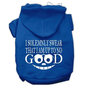 Up to No Good Screen Print Pet Hoodies Blue Size XS (8)