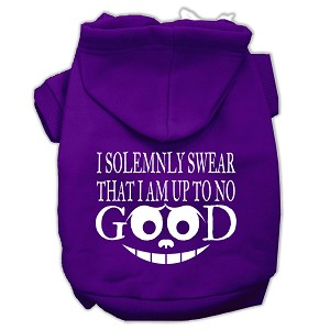 Up to No Good Screen Print Pet Hoodies Purple Size XL (16)