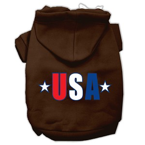 USA Star Screen Print Pet Hoodies Brown Size XXL (18)