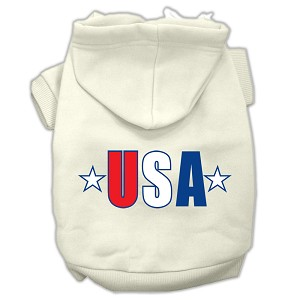 USA Star Screen Print Pet Hoodies Cream Size Lg (14)