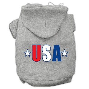 USA Star Screen Print Pet Hoodies Grey Size XS (8)