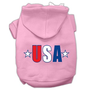 USA Star Screen Print Pet Hoodies Light Pink Size Lg (14)