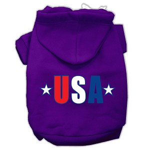 USA Star Screen Print Pet Hoodies Purple Size Lg (14)