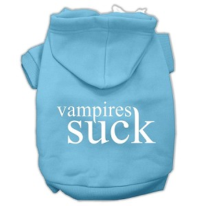 Vampires Suck Screen Print Pet Hoodies Baby Blue Size S (10)