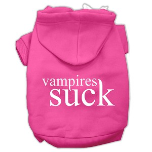 Vampires Suck Screen Print Pet Hoodies Bright Pink Size XL (16)