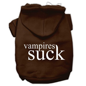 Vampires Suck Screen Print Pet Hoodies Brown Size XL (16)