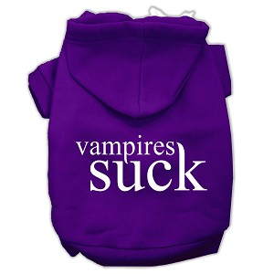 Vampires Suck Screen Print Pet Hoodies Purple Size M (12)