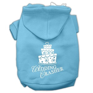 Wedding Crasher Screen Print Pet Hoodies Baby Blue Size Med (12)