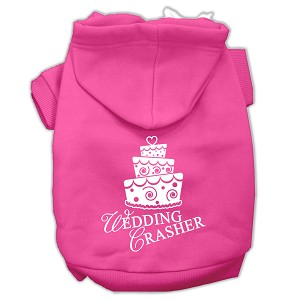 Wedding Crasher Screen Print Pet Hoodies Bright Pink Size Sm (10)