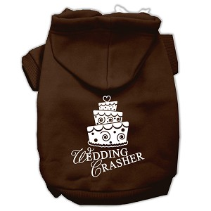 Wedding Crasher Screen Print Pet Hoodies Brown Size Med (12)