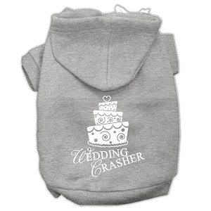 Wedding Crasher Screen Print Pet Hoodies Grey Size Lg (14)